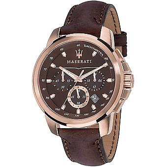 Maserati R8871621004 Men's Brown Strap Successo Chronograph Polshorloge