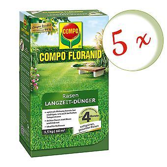 Sparset: 5 x COMPO Floranid® Long-term lawn fertilizer, 1.5 kg