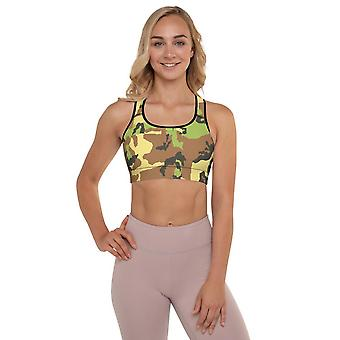 Padded Sports Bra | Light Green Camouflage