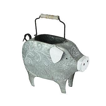 Galvanized Metal Indoor / Outdoor Pig Planter with Wooden Handle