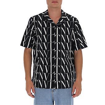 Valentino Uv3aa7696g50ni Männer's weiß/schwarz Baumwollhemd