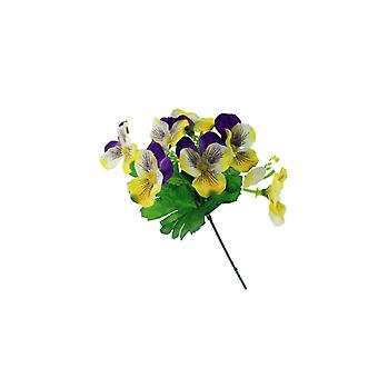 18cm Yellow & Purple Pansy Pick - Artificial Fabric Flowers