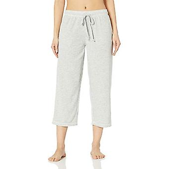 Brand - Mae Women's Standard Classic Open Leg Capri, light heather gre...