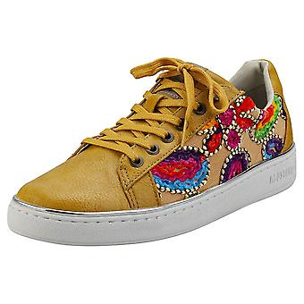 Mustang Lace Up Low Top Womens Fashion Trainers in Yellow