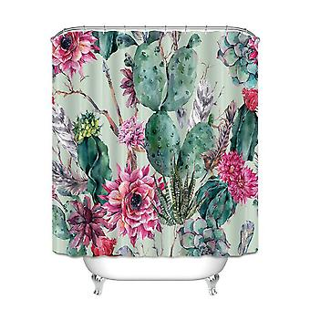 Bathroom plant shower curtain, safe, waterproof and mildew proof with hook
