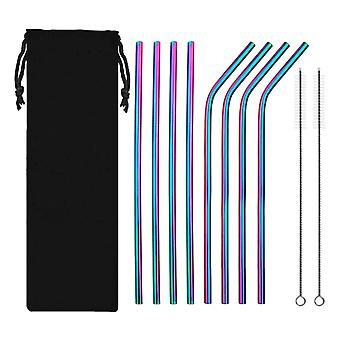 10PCS 304 Stainless Steel Metal Straws with Canvas Bag Rainbow