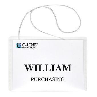 96043, Hanging Style Name Badge Kit w/White Elastic Cord, Sigillato con inserti, 4 x 3, 50/BX, 96043