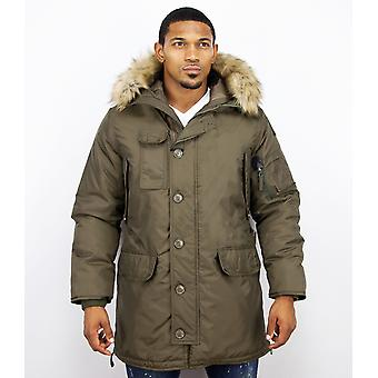 Parka Coat - With Fur Collar - Dark Green