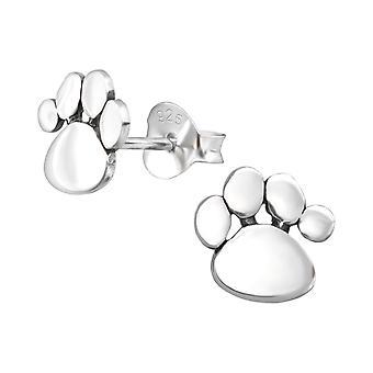 Brincos de garanhão de impressão da pata de prata esterlinas