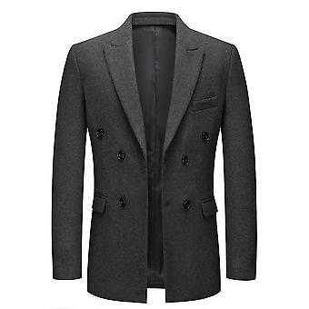 Allthemen Men's Woolen Overcoat Slim Fit Élégant Windbreaker Automne