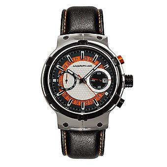 Morphic M91 Series Chronograph Leather-Band Watch w/Date - Silver/Orange