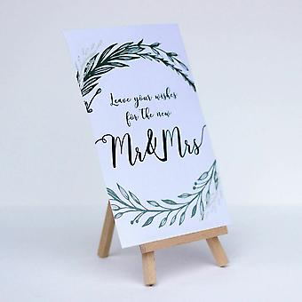 Leave Your Wishes White Card Botanical and Easel sign Wedding Guest Book