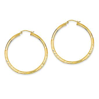 14k Yellow Gold Hollow Polished Hinged post Satin and Sparkle-Cut 3mm Round Hoop Earrings