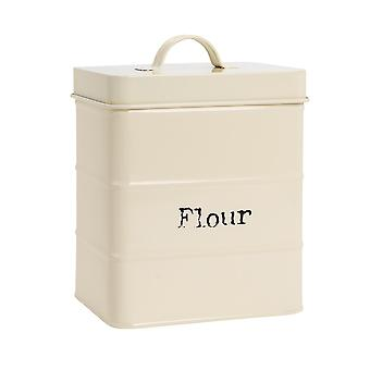 Industrial Flour Canister - Vintage Style Steel Kitchen Storage Caddy with Lid - Cream
