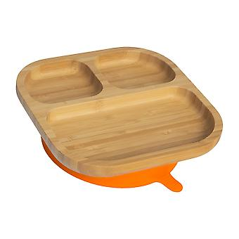 Tiny Dining Children's Bamboo Dinner Plate with Stay Put Succion - Segmented - Orange