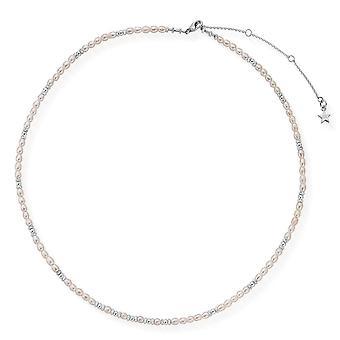 ChloBo Konfetti Falls Sølv Champagne Kys Perle halskæde SNCHAMPAGNE