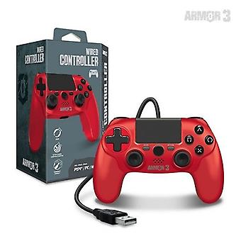 Wired Game Controller til PS4/ PC/ Mac (rød) - Armor3