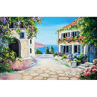 Vægmaleri hus nær havet