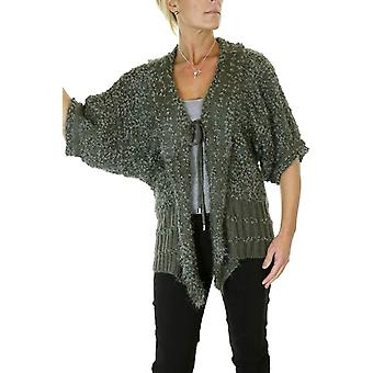 Women's Soft Boucle 3/4 Batwing Sleeve Knit Tie Front Shrug Casual Cardigan Jumper Olive Green 6-12