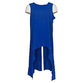 DG2 par Diane Gilman Women-apos;s Top Blue Tunique Cotton Hi-Low Hem 727-409