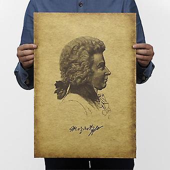 Musiker Mozart Vintage Kraft Papier klassischen Film Poster Home / Wand-Dekor