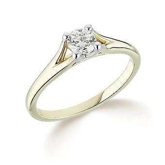 9K Yellow Gold Split Shoulder 4 Claw Setting 0.30Ct Certified Solitaire Diamond Engagement Ring