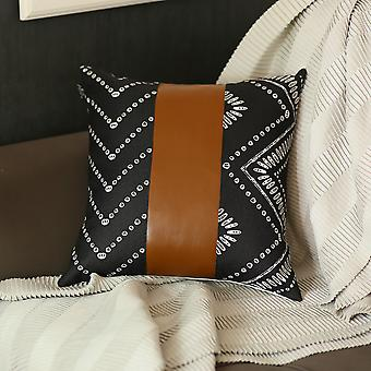 Vegan Faux Leather Square Throw Pillow Cover