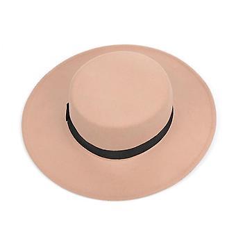 Klassische einfarbige Filz Fedoras Hut Gürtel, Mischung Jazz Cap Breite Krempe einfach