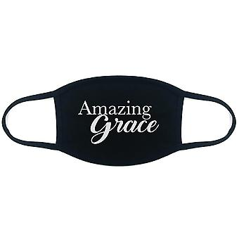 100% Cotton Made In The Usa Amazing Grace Black Fabric Face Mask