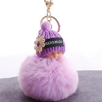 Sleeping Baby Doll Keychain, Pompom Rabbit Fur, Ball Key Chain, Fluffy Car