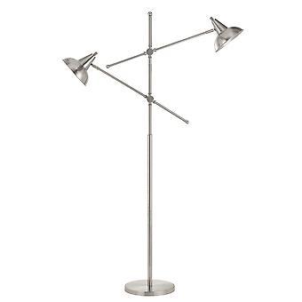 Lámpara de pie de cuerpo de metal tubular con 2 brazos ajustables, plata