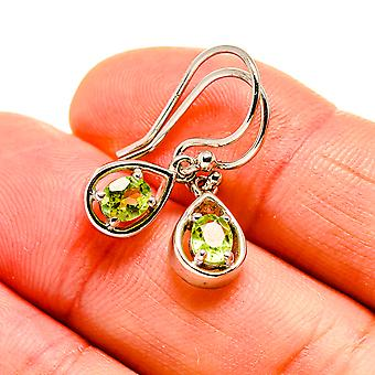 "Peridot Earrings 7/8"" (925 Sterling Silver)  - Handmade Boho Vintage Jewelry EARR411048"