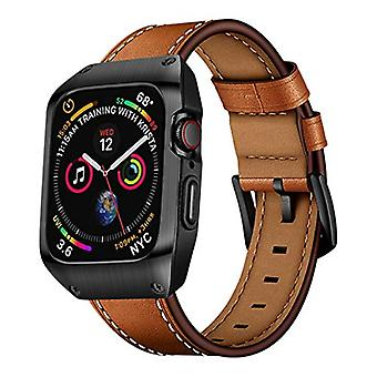 EloBeth 44mm Band Case Compatible with Apple Watch Band 44mm Series 5/4, Genuine Leather Bands & Metal Protective Cover for iWatch Series 4/5 44mm (Brown/Black)