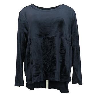 Carole Hochman Women's Petite Sweatshirt Silky Stretch Velour Blue A368282