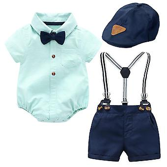 Baby Hat Clothes Navy Cap Green Striped Romper Bow Navy Shorts Suspenders Belt