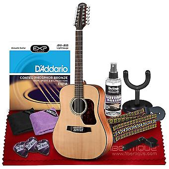 Walden d552e natura 12-string dreadnought acoustic-electric guitar with spruce top, rosewood fingerboard  bundle includes gig bag, acoustic ps69991