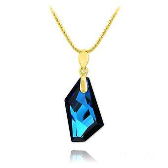24K gold blue crystal statement  pendant necklace