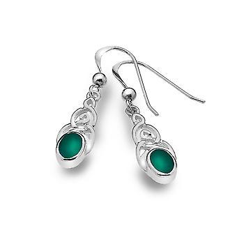 Sterling Silver Earrings - Celtic Knotwork + Green Agate