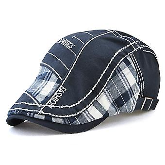 Peaked cap plaid fabric stitching embroidery thread peaked cap outdoor sun hat