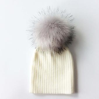 Children Artificial Pom Pom Hat Knitted Caps With Beanie Hats