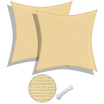 Yescom 2 Pack 16x16 Ft 97% UV Block Square Sun Shade Sail Canopy Outdoor Patio Poolside