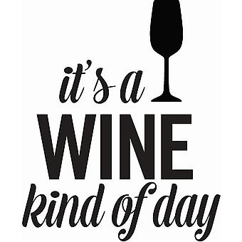 Hampton Art Wood Mounted Stamp - Wine Kinda Day