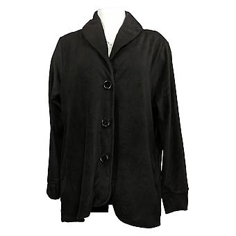 Cuddl Duds Dames's Sweater Fleecewear Button Front Blazer Zwart A369667
