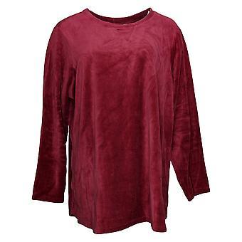 Denim & Co. Women's Sweatshirt Plus Active Velour Tunic Red A260064