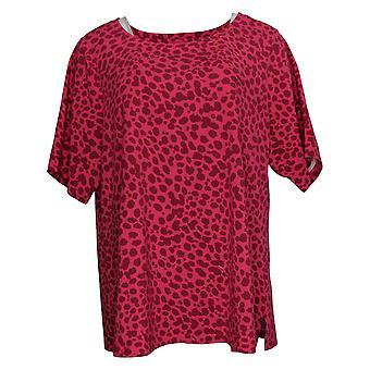 Isaac Mizrahi Live! Women's Plus Top Floral & Dot Printed Pink A387518