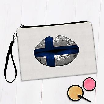Sac de maquillage cadeau: Lèvres Finnish Flag Finlande