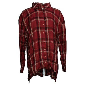 All Worthy Hunter McGrady Women's Top Plaid Button Front Red A384445