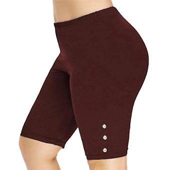 Womens hoge taille stretch shorts fiets fitness workout polyester leggins knie lengte shorts