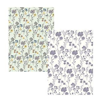 English Tableware Co. Pressed Flowers Set of 2 Tea Towels