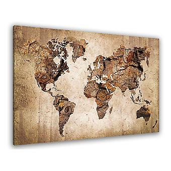Tableau carte du monde couleur bois - 80x50 cm